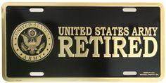 U.S. Army Retired 6 X 12 Metal Military Army License Plate