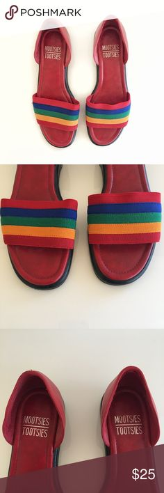 Vintage Mootsies Tootsies Rainbow Sandals Size 6.5 ADORABLE Vintage Mootsies Tootsies Rainbow Sandals. Size 6.5. Excellent Vintage Condition. No visible flaws. Leather Upper. Man Made Balance. 1/2 inch heel.  If you love vintage (like me!), check out my closet @mogibeth ! Vintage Shoes Sandals
