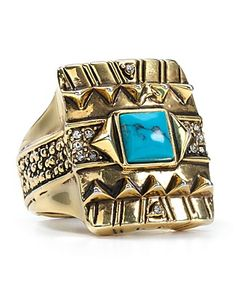 House of Harlow 1960 Turquoise Cushion Cocktail Ring