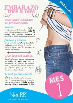 """infografía para pinterest NecBB """"El embarazo mes a mes"""" (Mes 1) via http://vidasana360.com"""