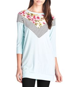 Love this 42POPS Mint Floral & Stripe Three-Quarter Sleeve Top by 42POPS on #zulily! #zulilyfinds