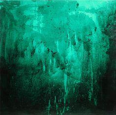 SANTIAGO PICATOSTE, CRYSTALLIZED (GREEN) pintura spray y metacrilato ensamblado, 150 x 150 cm
