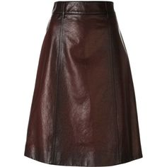 Prada distressed midi leather skirt ($1,970) ❤ liked on Polyvore featuring skirts, bottoms, brown leather skirt, real leather skirt, genuine leather skirt, calf length skirts and midi skirt