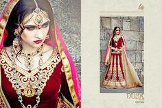 Lehenga :: Maroon Trendy Lehnga with Traditional Touch Long Choli Style Blouse & Dupatta. Bollywood Bridal, Bollywood Lehenga, Red Lehenga, Bridal Lehenga Choli, Anarkali, Indian Dresses, Indian Outfits, Trend Fabrics, Ethnic Wear Designer