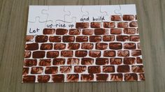 Kids stamp bricks on to a blank puzzle board and then can take it apart. Bible Story Crafts, Bible School Crafts, Bible Crafts For Kids, Bible Study For Kids, Preschool Bible, Bible Activities, Preschool Crafts, Bible Stories, Sunday School Activities