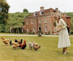 Madonna and her chickens, Wiltshire, UK, 2005 American Vogue by Tim Walker Vogue Japan, Vogue Russia, Vogue China, English Manor, English Countryside, English Homes, English Estates, Country Life, Country Living