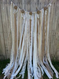 Burlap Lace Garland Curtain Burlap Gypsy by BellaBlueLace on Etsy