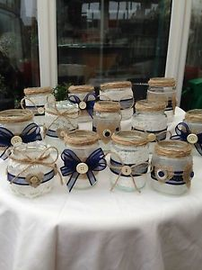 Shabby chic/vintage wedding decorated glass jar tea light holders/favours x 15 Jam Jar Crafts, Crafts With Glass Jars, Bottle Crafts, Vasos Vintage, Wedding Jars, Wedding Reception, Wedding Gifts, Shabby Chic Wedding Decor, Decorating Bookshelves