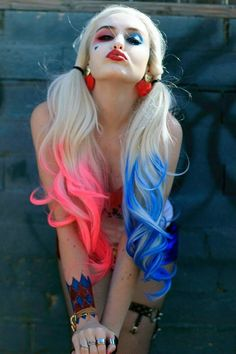 Harley Quinn pink blue ponytail dyed cosplay hair