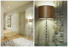 Make the hallway an exciting visual experience with beautiful wallpaper, lighting and art