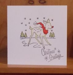Little Reindeer 1950s inspired Christmas Card by thesparklyfairy, £1.75