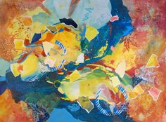 "Daily Painters Abstract Gallery: ""Impressions of Falling Leaves"" by Texas Contemporary Artist, Judy Wilder Dalton"