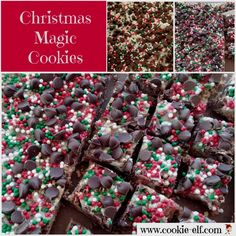 Christmas Magic Cookie Bars: ingredients, directions, and special baking tips from The Elf to make Christmas Magic Cookie Bars, a classic bar cookie and easy Christmas cookie recipe. Christmas Cookies Kids, Christmas Candy Gifts, Easy Christmas Cookie Recipes, Holiday Cookies, Christmas Desserts, Holiday Treats, Christmas Baking, Drop Cookie Recipes, Cake Mix Cookie Recipes