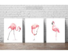Pink Flamingo Set 3 Art Prints, Flamingoes Whimsical Tropical Artwork, Pink Bird Wall Decor, Flamingos Wall Art Abstract Watercolor Painting by ColorWatercolor on Etsy Flamingo Painting, Flamingo Art, Flamingo Nursery, Flamingo Bathroom, Baby Painting, Bird Nursery, Nursery Room, Nursery Ideas, Nursery Decor