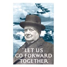 """1941 Churchill """"Let Us Go Forward Together"""" Vintage Security WW2 Poster 20x30"""