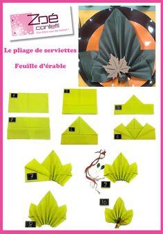 idee pliage serviette- feuille d automne