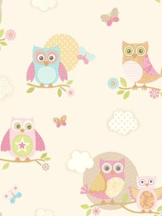 Pastel Owls Ivory Wallpaper