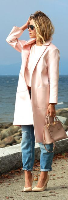 Nude Long Line Fall Coat by A Fashion Love Affair