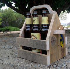 Beer Tote, bottle opener, recycled beer tote, beer carrier, custom beer tote, one-of-a-kind beer tote, groomsmen gift, by MrMartinsGiftsForMen on Etsy https://www.etsy.com/listing/248517748/beer-tote-bottle-opener-recycled-beer