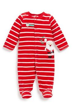 Little Me 'First Christmas - Santa' Velour One-Piece (Baby) available at #Nordstrom