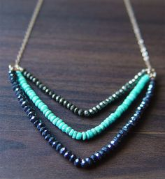 Chevron Pyrite Turquoise Necklace 14k Gold Fill por friedasophie