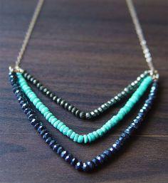 Chevron Pyrite Turquoise Necklace 14k Gold Fill por friedasophie