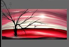Modern Abstract Painting The Lone Tree. This image is available in the slightly panoramic size of x 113 x meaning it is a little wider deep pink Lone Tree, Wall Spaces, Black Art, Landscape Paintings, Tapestry, Deep, Modern, Pink, Image