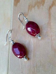 authentic ruby earrings-rubies-ruby on sterling silver-ruby jewelry-ruby dangle earrings-ruby red-red stone earrings