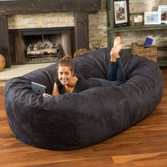 Adult Bean Bag Chair Giant Large Dorm Furniture 8 ft Sofa Lounge College Couch for sale online Oversized Bean Bag Chairs, Large Bean Bag Chairs, Large Bean Bags, Puff Gigante, Bean Bag Living Room, Bean Bag Sofa, Giant Bean Bag Chair, Giant Bean Bags, Bean Chair