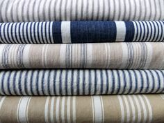 Mattress Ticking fabric can be a way to upholster cheaply eg Ticking Fabric, Ticking Stripe, Linen Fabric, Striped Linen, Textiles, Farmhouse Fabric, French Fabric, Shabby, Linens And Lace