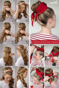 Easy Hairstyles For Long Hair, Bandana Hairstyles, Up Hairstyles, Braided Hairstyles, Hairstyles With Scarves, Hairstyle Ideas, Hair Wrap Scarf, Hair Scarf Styles, Curly Hair Styles