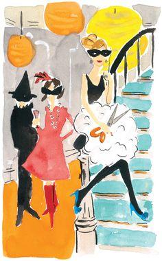 Kate Spade fashion Halloween illustration on ArtLuxe Designs. Halloween Art, Holidays Halloween, Vintage Halloween, Happy Halloween, Halloween Rocks, Halloween Images, Halloween Treats, Halloween Illustration, Illustration Art