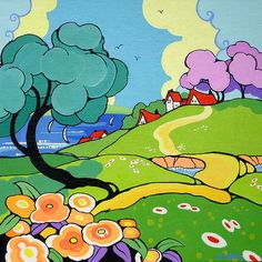 Alida Akers Seaside View Ode to Clarice Cliff Series This is the latest painting in my Ode to Clarice Cliff Series. These whimsical paintings are inspired by Deco pottery designed by Clarice Cliff and ilustrations from that era. The painting measures 8 by 8 inches on canvas board. You may follow my artwork on Ebay under moonflowerkeep.