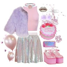 party kei lilac x pink x holograms