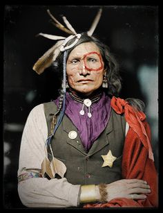Iron White Man (Sioux) 1900 - Colorized photo by Frédéric Duriez