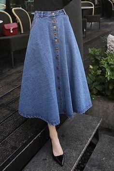 Простой застегнутом высокой талией джинсовые юбки для женщин