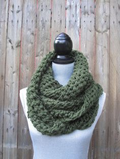 Soft Forest Green Infinity Scarf