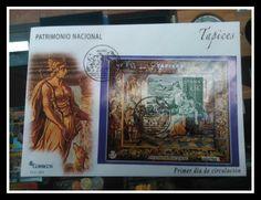 Sobre Primer Día en tela con el sello de Patrimonio Histórico dedicado a la Muerte de Dido, impreso en calcografía y huecograbado. Tapiz expuesto en el Palacio Real de Madrid.