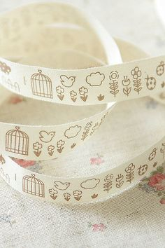 Bird and flower cotton ribbon.  Sewing, gift wrapping, craft