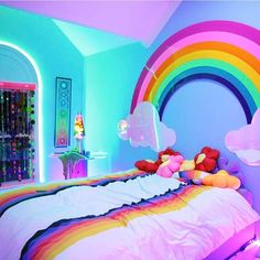 20 Little Girl Room Ideas & Decorating Designs for 2018 is part of Unicorn bedroom - Find creative Little Girl Room ideas and inspiration to add to your own home Browse cool little girl room decorating designs Girl Bedroom Designs, Bedroom Themes, Room Decor Bedroom, Neon Bedroom, Girls Room Design, Comfy Bedroom, Bed Design, Unicorn Rooms, Unicorn Bedroom