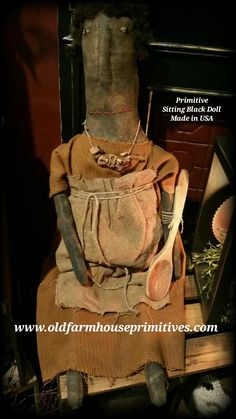 Primitive Sitting Black Doll (Made In USA)