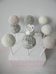 Silver wedding cake pops ~ from Just Call Me Martha