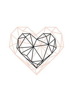Geometric Heart, Modern Decor, Printable Art, Geometric Art, Wall Decor, Scandinavian Poster, Geometric Poster, Heart Poster, Line art - #Art #decor #Geometric #Heart #Line #Modern #Poster #printable #Scandinavian #Wall