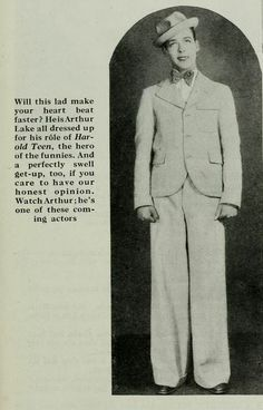 """Up and Coming Arthur Lake [Publicity shot for """"Harold Teen"""" 1928]"""