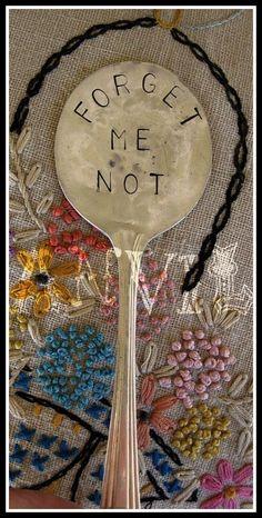 Forget Me Not Vintage Spoon Garden Marker