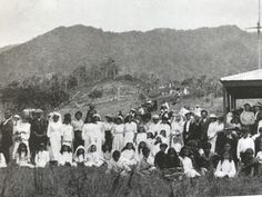 Whanau gathered at Waipuna Marae in Whakarapa following a confirmation ceremony 1915. From Panguru and the City (Melissa Matatuna Williams) Confirmation, Dolores Park, City, Travel, House, Voyage, Viajes, Traveling, Trips