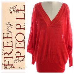 Free People Red long sleeve V-neck line Free Peoples long sleeve made of 100%cotton in very good condition. No TRADES  NO PAYPAL Free People Tops Tees - Long Sleeve