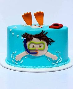 I love this little pool cake. or swimming cake? Little boy swimming cake! Pool Party Cakes, Pool Cake, Swim Cake, Pool Birthday Cakes, Pool Parties, Pretty Cakes, Cute Cakes, Yummy Cakes, Swimming Cake