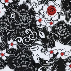 Timeless Treasures Poppy Lane Swirly by BelloBerryFabricShop Textile Patterns, Textile Prints, Print Patterns, Grey And Red Living Room, Quilting Projects, Sewing Projects, Fun Prints, Floral Motif, Pattern Wallpaper