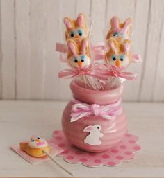Miniature Easter Bunny Cookies On A Stick In by LittleThingsByAnna